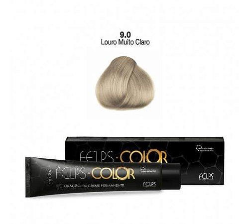 Coloração em Creme Permanente Louro Muito Claro 9.0 Felps Color Professional 60g