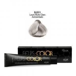 Coloração em Creme Louro Muito Claro Acinzentado Matizador 9.011 Felps Color Professional 60g