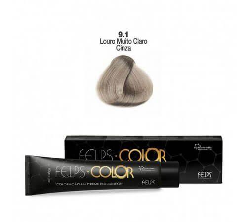Coloração em Creme Permanente Louro Muito Claro Cinza 9.1 Felps Color Professional 60g