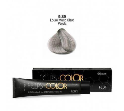 Coloração em Creme Permanente Louro Muito Claro Pérola 9.89 Felps Color Professional 60g