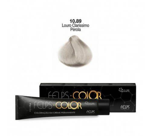 Coloração em Creme Permanente Louro Claríssimo Pérola 10.89 Felps Color Professional 60g