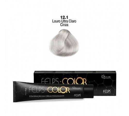Coloração em Creme Permanente Louro ultra Claro Cinza 12.1 Felps Color Professional 60g