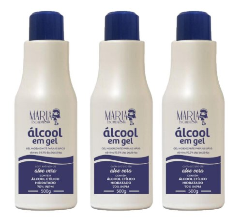 Álcool Gel Maria Escandalosa Kit 3uni 500ml