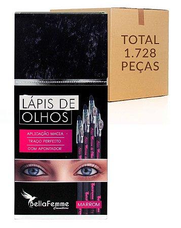 Box de Lápis Marrom de Olhos – Bella Femme BF1002B – Caixa Fechada com 144 Dúzias