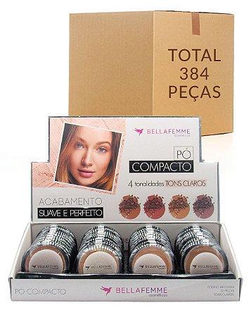 Pó Compacto Cores Claras – Bella Femme BF10006A – Caixa Fechada com 12 Displays