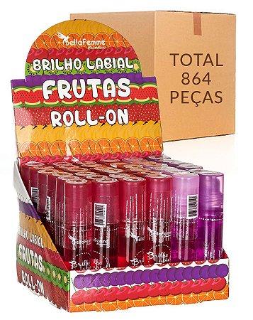 Brilho Labial Roll-On Frutas – Bella Femme BF10013 – Caixa Fechada com 24 Displays