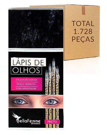 Box de Lápis Preto de Olhos – Oncinha – Bella Femme BF10019B – Caixa Fechada com 144 Dúzias