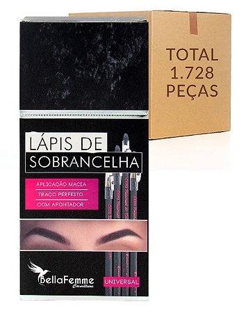 Box de Lápis Universal de Sobrancelhas – Bella Femme BF10020B – Caixa Fechada com 144 Dúzias