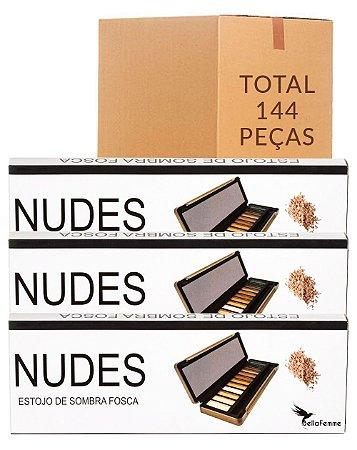 Estojo de Sombras Nudes – Bella Femme BF10034 – Caixa Fechada com 144 Peças