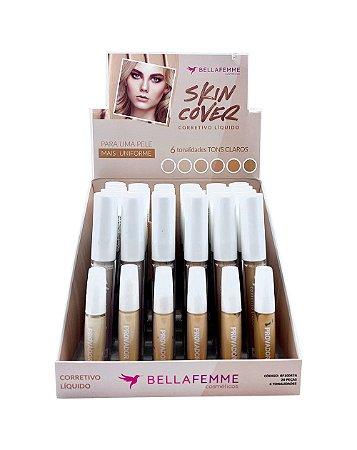 Corretivo Líquido Matte Cores Claras – Skin Cover – Bella Femme BF10047A – Caixa Fechada com 24 Displays