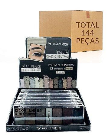Paleta de Sombras Classic Neutral – Bella Femme BF10056B – Caixa Fechada com 12 Displays