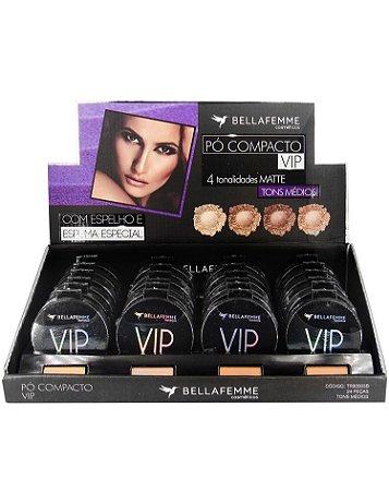 Pó Compacto Matte VIP – Cores Média – Bella Femme TR30003B –  Caixa Fechada com 10 Displays