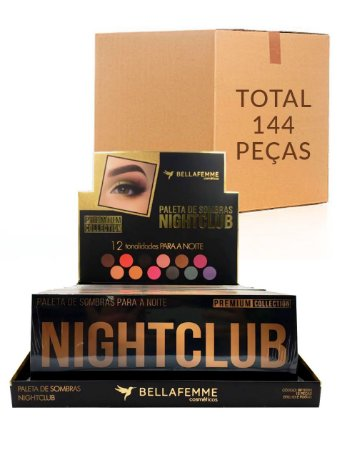 Paleta de Sombras Nightclub – Bella Femme BF10063 – Caixa Fechada com 12 Displays