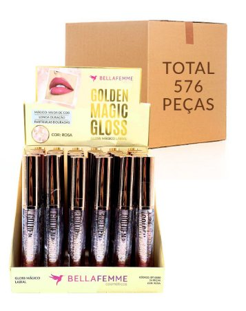 Lip Gloss Mágico - Golden Magic Gloss – Bella Femme BF10080 – Caixa Fechada com 12 Displays