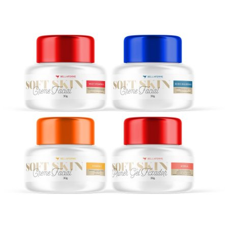 Kit 3 Cremes Faciais de potinhos + 1 Primer Soft Skin Bella Femme