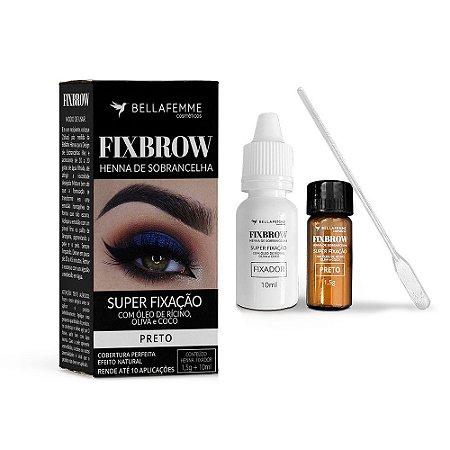 FixBrow Henna de Sobrancelha Preto – Bella Femme BF10098D – Caixa Fechada com 72 Unidades