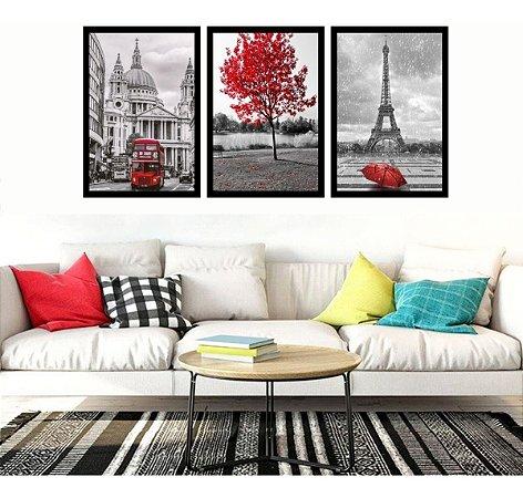 Quadro Decorativo Sala  Londres Árvore Da Vida Vermelha Paris Torre Eiffel