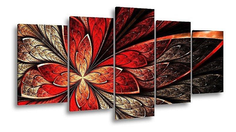 Quadro Decorativo Sala Quarto Flor Vermelha Design