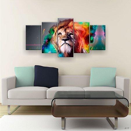 Quadro Decorativo Leão  Aquarela Colorido