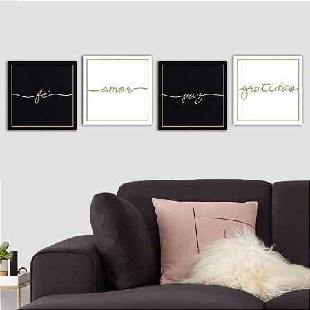 Kit 4 Quadros Decorativos Amor Fé Paz Gratidão Preto E Branco