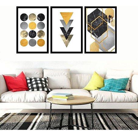 Quadro Abstrato Sala Geométrico Ton Amarelo 120x60