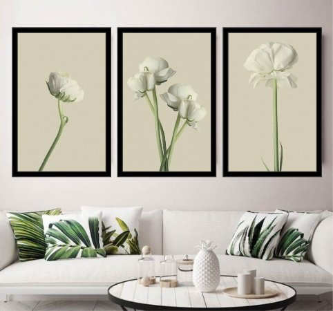 Quadro Decorativo Flores Branca Sala Quarto
