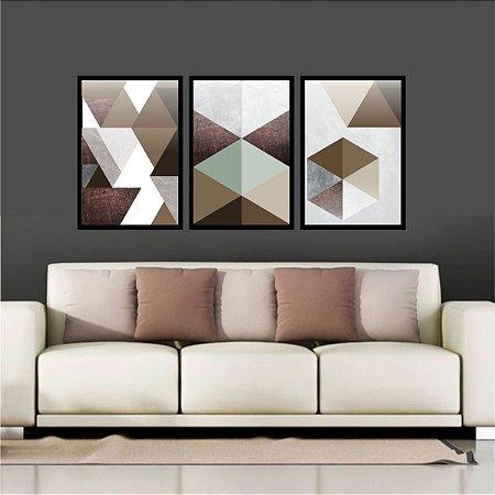 Quadro Mosaico Abstratos Marrom E Neutro Quarto Sala