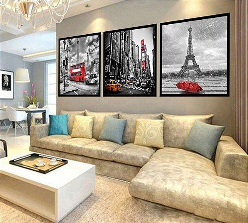 Quadro Mosaico Decorativo Paris, Londres, New York 180x60