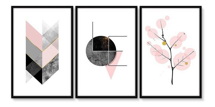 Quadro Decorativo Moldura Sala Jogo Geométrico Chevron Love