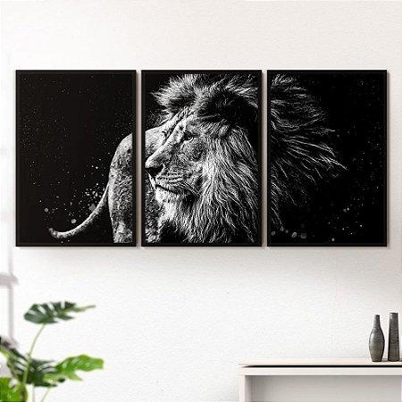 Quadro Decorativo Moldura Jogo Animais Leão De Judá Escuro