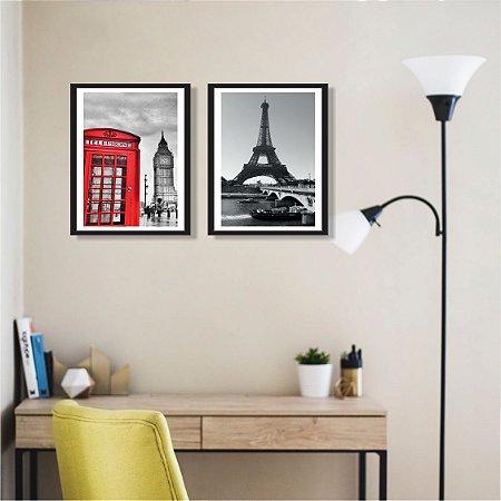 Quadro Decorativo Torre Eiffel Moldura e Vidro Sala Quarto