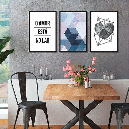 Quadro Decorativo Obstrato Moldura e Vidro Para Quarto Sala
