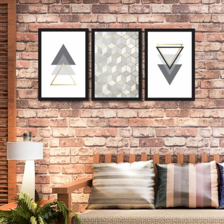 Quadro Decorativo Obstrato Geométrico Moldura Vidro Sala