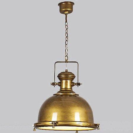Pendente em Metal e Vidro 40x40cm 1xE27- Bronze Antigo