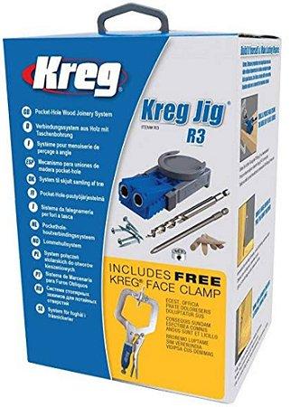 Kit Gabarito para Furação Kreg Jig R3 C/ Grampo de 2 Pol. - KREG TOOL-R3-INT-PROMO-18