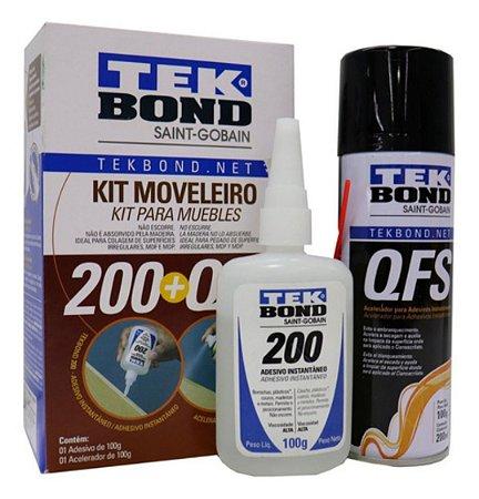 Kit Moveleiro - Cola Instantânea 100g + Acelerador QFS TEK BOND