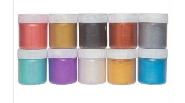 Kit Pigmentos e Corante Perolados em Pó - Cada potinho contem 8 gramas - 10 cores - SIQUIPLÁS