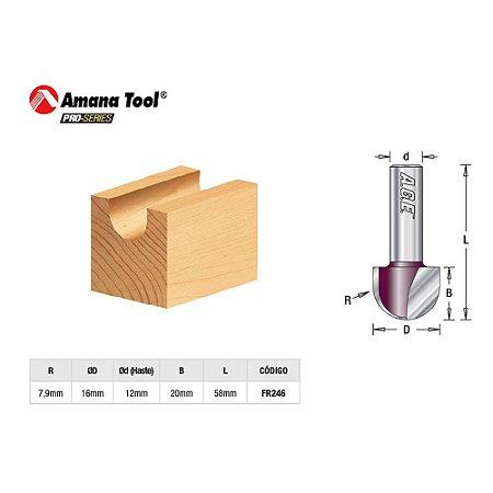 Fresa Ranhura U 16mm para Tupia Manual Amana Tool FR246