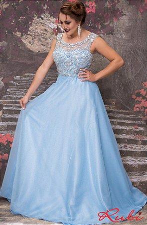 Vestido de festa azul bb
