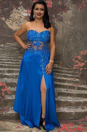 Vestido longo azul turquesa de tafeta tomara que caia  94f2493bae5