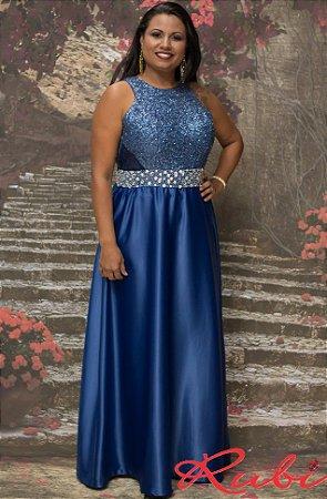 a88621800d Vestido longo azul marinho busto paete