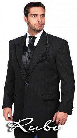 Terno para noivo preto com riscas , modelo padrão