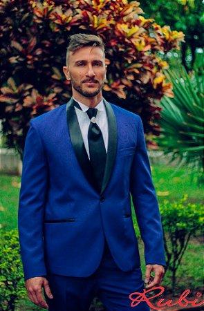 Terno Azul Royal Slim com lapela preta