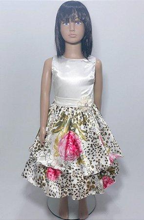 Vestido infantil  branco , saia babado estampado com detalhe em flor tam 8