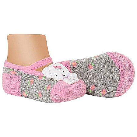Meia Sapatilha Bebê Antiderrapante Cachorrinha Rosa