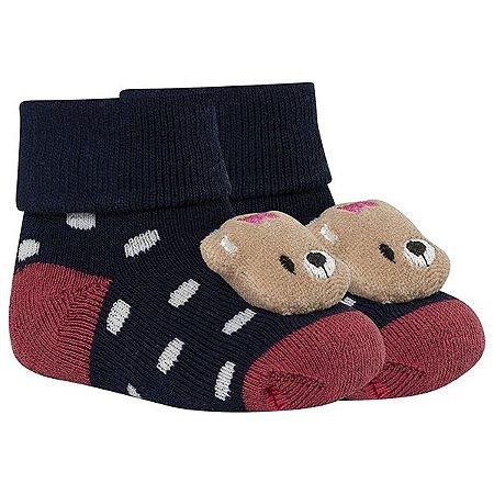 Meia Bebê Fun Socks Botinha Adereço Ursinha Preta