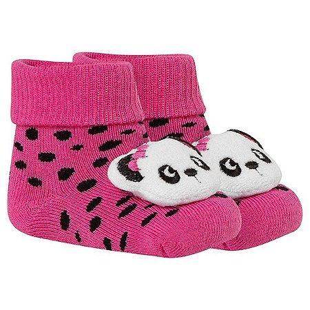 Meia Bebê Fun Socks Botinha Adereço Pandinha Pink