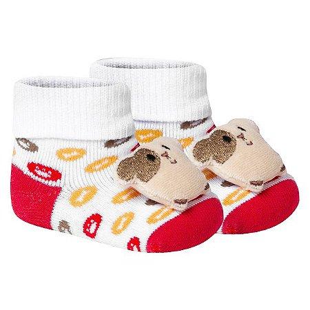 Meia Bebê Fun Socks Botinha Adereço Cachorrinho Vermelha