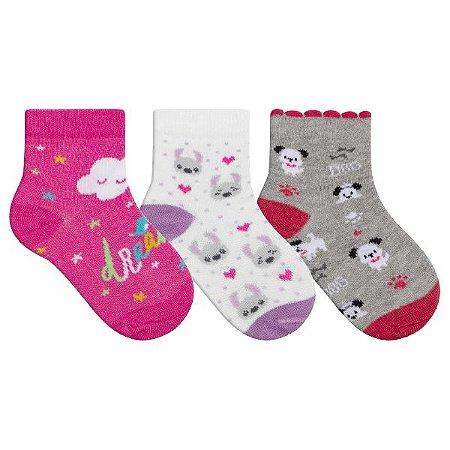 Kit 3 Meias Bebê Infantil Nuvemzinha Pink