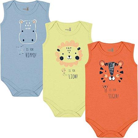 Kit Body Regata Bebê Unissex Mini Tiger Liso Tricolor Kiko Baby
